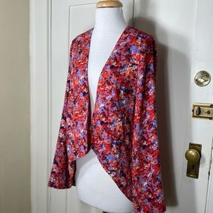 Lush Floral Red Purple Open Front Blazer